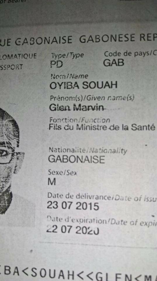 """Glen Marvin a pour fonction officielle celui de """"fils du ministre de la santé"""" dans son passeport !"""